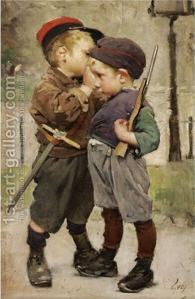 Le Consigne by Henri-Jules-Jean Geoffroy (Geo) - Reproduction Oil Painting