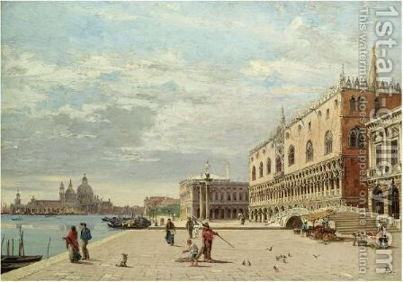 The Molo, Venice by Antonietta Brandeis - Reproduction Oil Painting