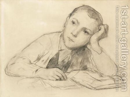 Study For 'Writting Boy' by Albert Anker - Reproduction Oil Painting
