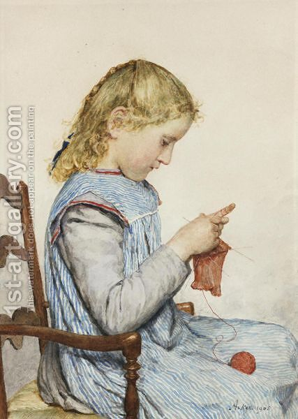 Girl Knitting, 1905 2 by Albert Anker - Reproduction Oil Painting