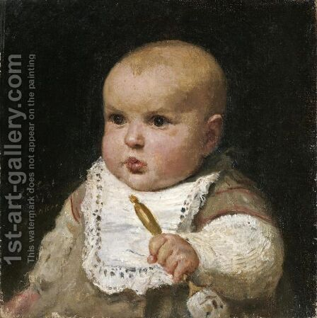 Infant With Rattle, 1878 by Albert Anker - Reproduction Oil Painting
