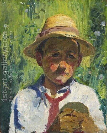 Peasant Boy From Bergell by Giovanni Giacometti - Reproduction Oil Painting