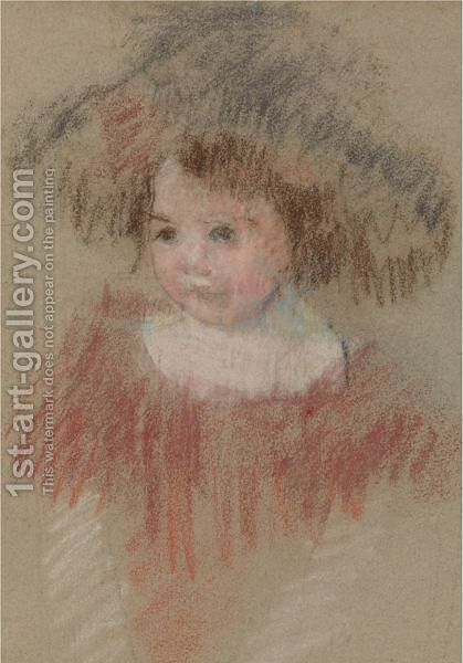 Margot In A Big Hat (Fillette, Corsage Rouge) by Mary Cassatt - Reproduction Oil Painting