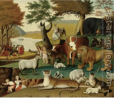 The Peaceable Kingdom With The Leopard Of Serenity by Edward Hicks - Reproduction Oil Painting