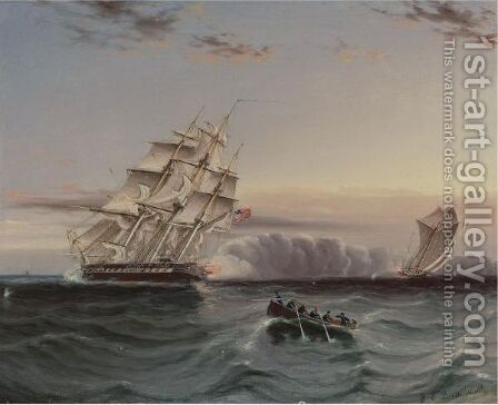 Us Frigate And Privateer by James E. Buttersworth - Reproduction Oil Painting
