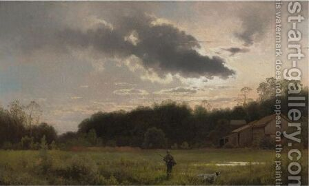 Hunter At Sunrise by Herman Herzog - Reproduction Oil Painting