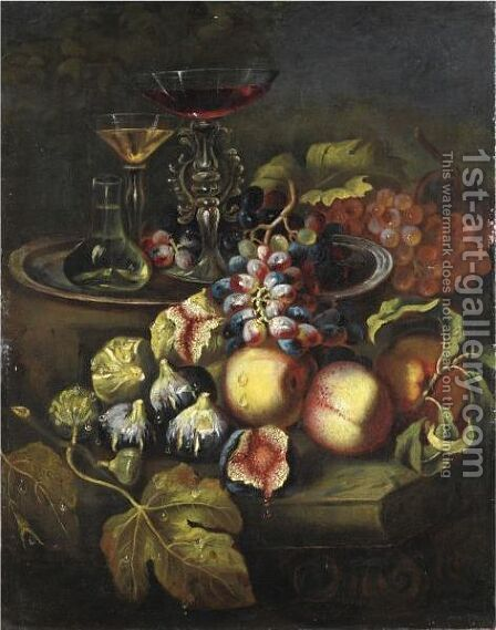 Natura Morta Con Fichi, Pesche, Uva E Bicchieri Di Vetro by Italian School - Reproduction Oil Painting