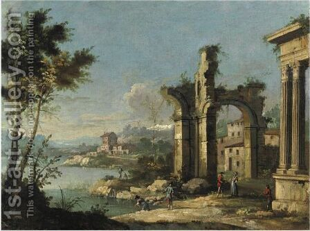 Capriccio Architettonico Con Figure by Apollonio Domenichini - Reproduction Oil Painting