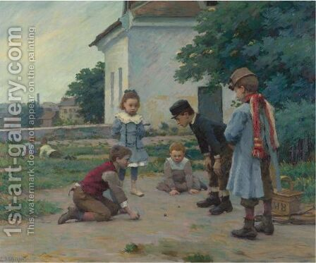 Children Playing With Marbles Two Works by Claude Emile Schuffenecker - Reproduction Oil Painting