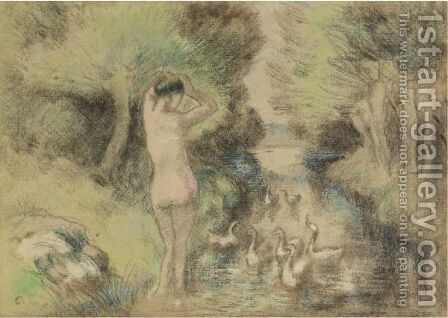 La Baigneuse Aux Oies by Camille Pissarro - Reproduction Oil Painting