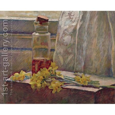 Jonquilles Et Bocal by Edouard  (Jean-Edouard) Vuillard - Reproduction Oil Painting