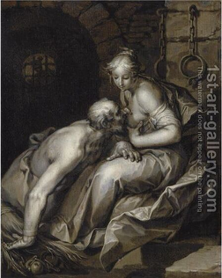 Roman Charity 2 by Abraham Bloemaert - Reproduction Oil Painting