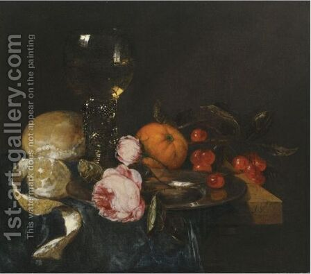 A Still Life With A Roemer, A Peeled Lemon, Bread, Roses On A Pewter Plate, An Orange And Cherries, All On A Draped Table by Abraham Van Beijeren - Reproduction Oil Painting