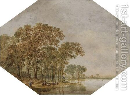 A Wooded River Landscape With A Shepherd Driving His Flock On The Banks by Jan Harmensz. Vijnck - Reproduction Oil Painting