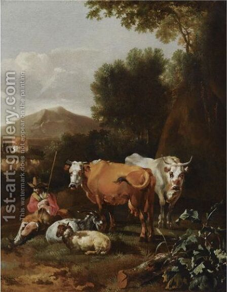 An Italianate Landscape With A Herdsman And His Cattle Resting Near A Tree by Abraham Jansz Begeyn - Reproduction Oil Painting