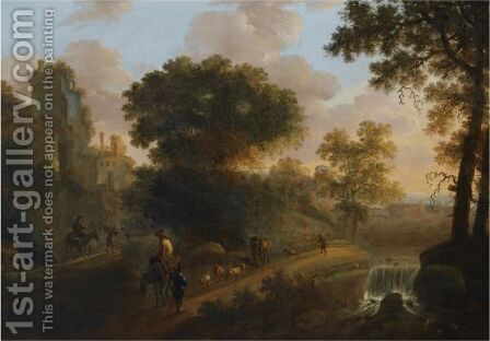 An Italianate Wooded Landscape With Shepherds Herding Their Flock And Cattle On A Path Near A Ruined Tower, A View Of A Village Beyond by Abraham Van Duijnen - Reproduction Oil Painting