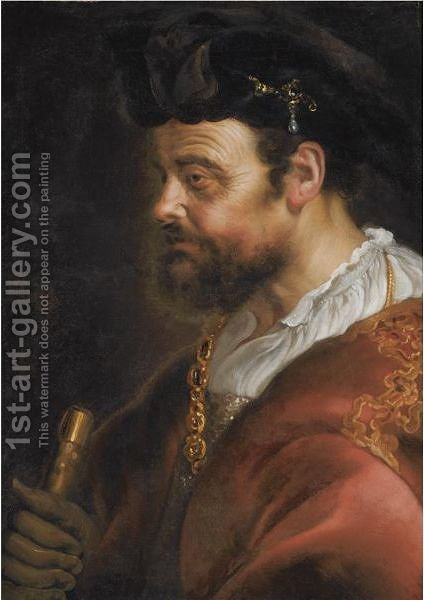 A Tronie Of A Man In Fantasy Dress, Bust Length, En Profile by Adam Camerarius - Reproduction Oil Painting