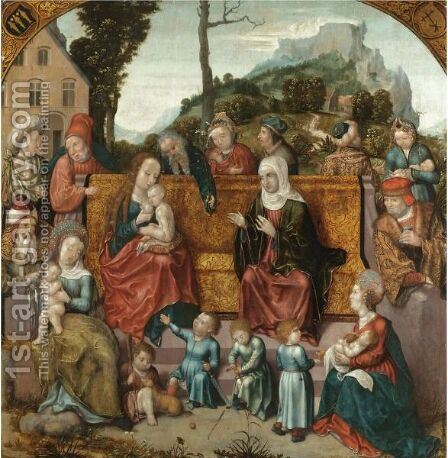 The Holy Kinship by Antwerp School - Reproduction Oil Painting