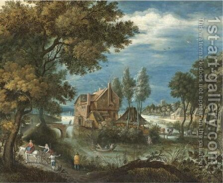 A River Landscape With A Horse And Cart, Huntsmen In A Rowing Boat Beyond by (after) Adriaen Van Stalbemt - Reproduction Oil Painting