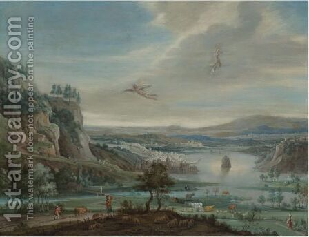 An Extensive River Landscape With The Fall Of Icarus by (after) Jan The Elder Brueghel - Reproduction Oil Painting