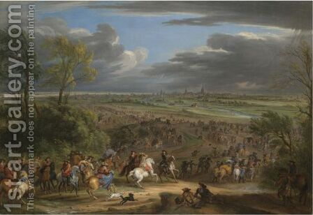 The French Army Advancing Towards Courtrai by (after) Adam Frans Van Der Meulen - Reproduction Oil Painting