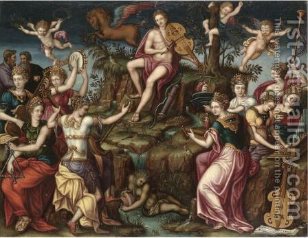Apollo And Parnassus by (after) Luca Penni - Reproduction Oil Painting