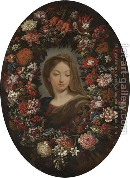 A Garland Of Flowers by (after) Dei Fiori (Nuzzi) Mari - Reproduction Oil Painting