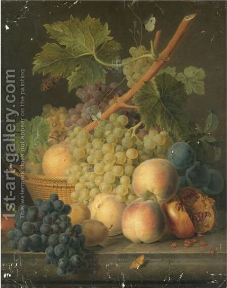 Still Life With Grapes And Peaches In A Basket, An Open Pomegranate, Plums, Black Grapes And More Peaches On The Marble Ledge Beneath by Jan Frans Van Dael - Reproduction Oil Painting