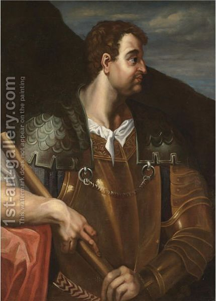 Portrait Of The Emperor Otho, Half Length And In Profile, Wearing Armour by (after) Bernardino Campi - Reproduction Oil Painting