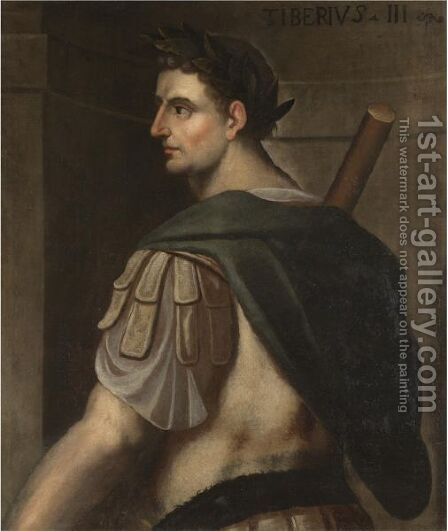 Portrait Of The Emperor Tiberius, Half-Length Standing In Profile, Wearing A Laurel Wreath by (after) Bernardino Campi - Reproduction Oil Painting