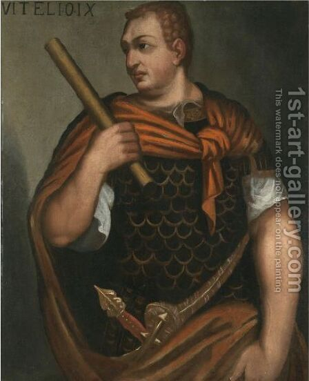 Portrait Of The Emperor Vitellius, Three-Quarter Length, Holding A Baton by (after) Bernardino Campi - Reproduction Oil Painting