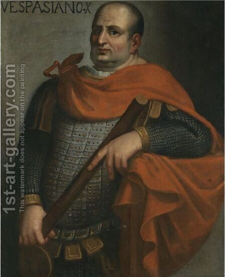 Portrait Of The Emperor Vespasian, Three-Quarter Length, Holding A Baton by (after) Bernardino Campi - Reproduction Oil Painting