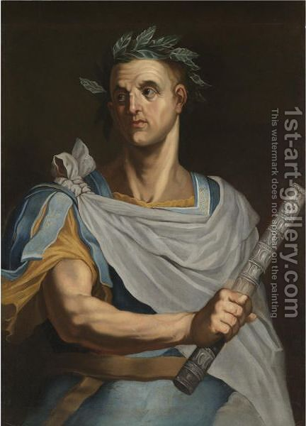 Portrait Of Julius Caesar, Half Length, Wearing A Laurel Wreath And Holding A Baton by (after) Bernardino Campi - Reproduction Oil Painting