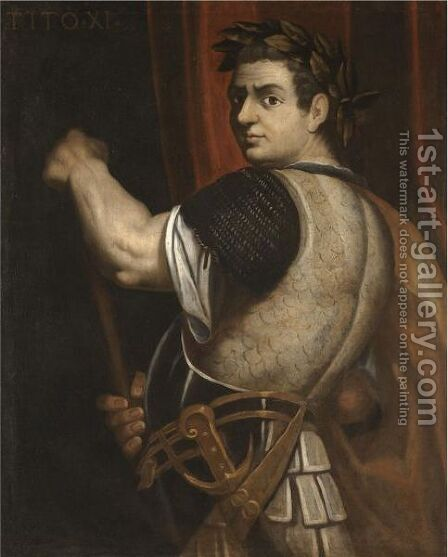 Portrait Of The Emperor Titus, Three-Quarter Length, Wearing Armour And A Laurel Wreath And Holding A Baton by (after) Bernardino Campi - Reproduction Oil Painting