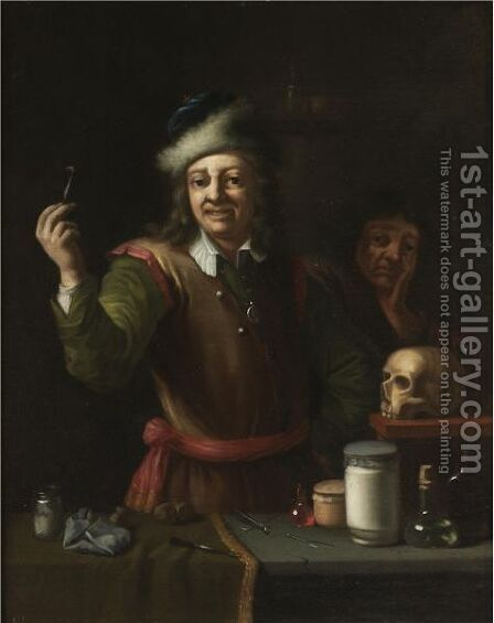 A Dentist's Surgery by (after)  David The Younger Teniers - Reproduction Oil Painting