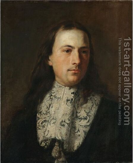 Portrait Of A Gentleman, Head And Shoulders, Wearing Black And With A White Ruff by (after) Carlo Maratta Or Maratti - Reproduction Oil Painting
