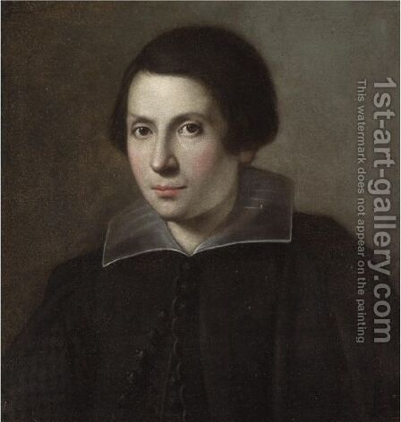 Portrait Of A Young Man, Head And Shoulders, Wearing Black With A White Ruff by (after) Carlo Ceresa - Reproduction Oil Painting