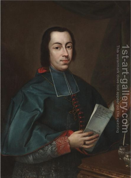 Portrait Of Francesco Agostino Della Chiesa, Bishop Of Vigevano (Born 1717) by Davide Loreti - Reproduction Oil Painting