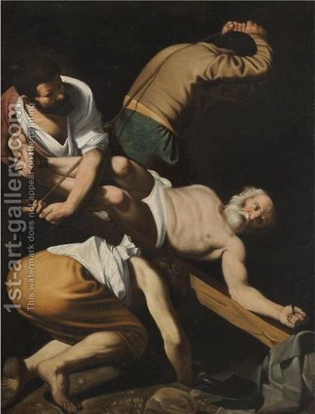 The Crucifixion Of Saint Peter by (after) Michelangelo Merisi Da Caravaggio - Reproduction Oil Painting