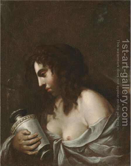 The Penitent Magdalene Holding A Jar Of Ointment Before A Crucifix by (after) Giovanni Baglione - Reproduction Oil Painting
