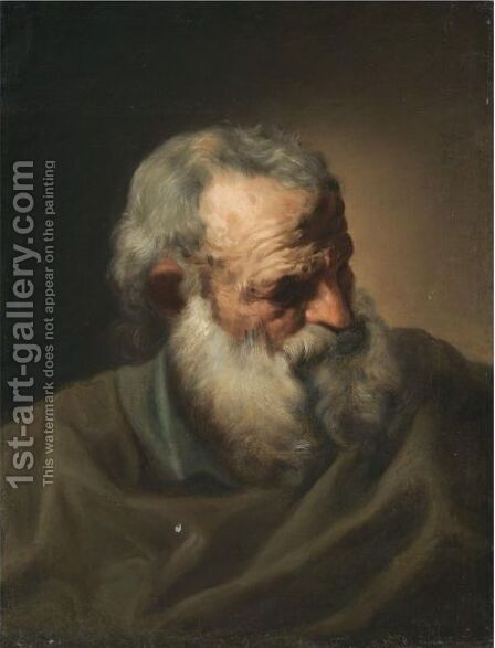 Study Of The Head Of A Bearded Man by (after) Joseph-Marie Vien - Reproduction Oil Painting