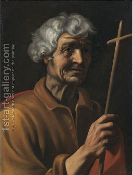 A Male Saint Holding A Crucifix by Italian School - Reproduction Oil Painting