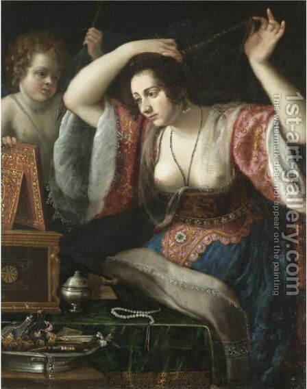 A Lady Before A Mirror, Possibly Venus At Her Toilet by (after) Artemisia Gentileschi - Reproduction Oil Painting