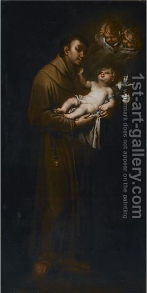 Saint Anthony Of Padua And The Christ Child by (after) Giovanni Danedi - Reproduction Oil Painting