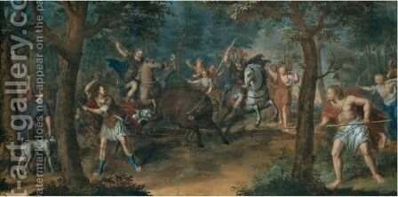 A Boar Hunt by Dutch School - Reproduction Oil Painting