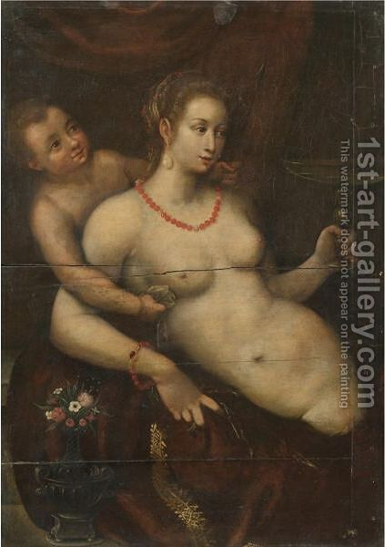 Venus And Cupid by (after) Lavinia Fontana - Reproduction Oil Painting