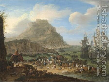An Exotic Harbour Scene by (after) Jan Baptist Van Der Meiren - Reproduction Oil Painting