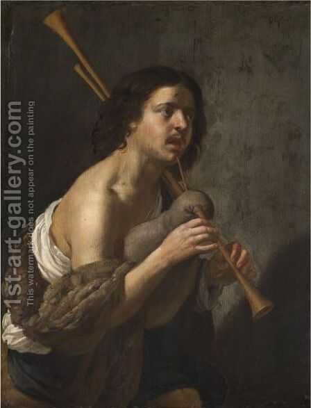 A Young Man Playing The Bag Pipes by (after) Jan Van Bijlert - Reproduction Oil Painting