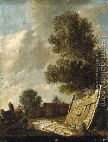 A Landscape With Travellers Resting In The Foreground by (after)  Jan Van Goyen - Reproduction Oil Painting