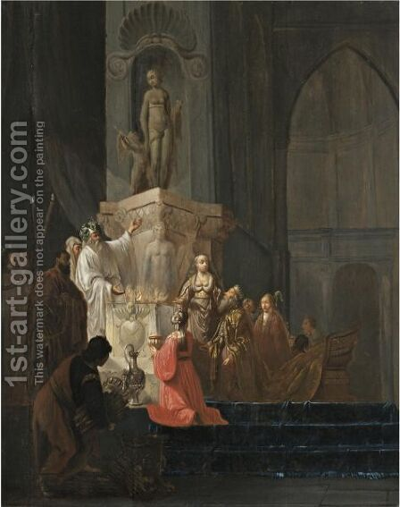 The Idolatry Of Solomon by (after) Willem De Poorter - Reproduction Oil Painting